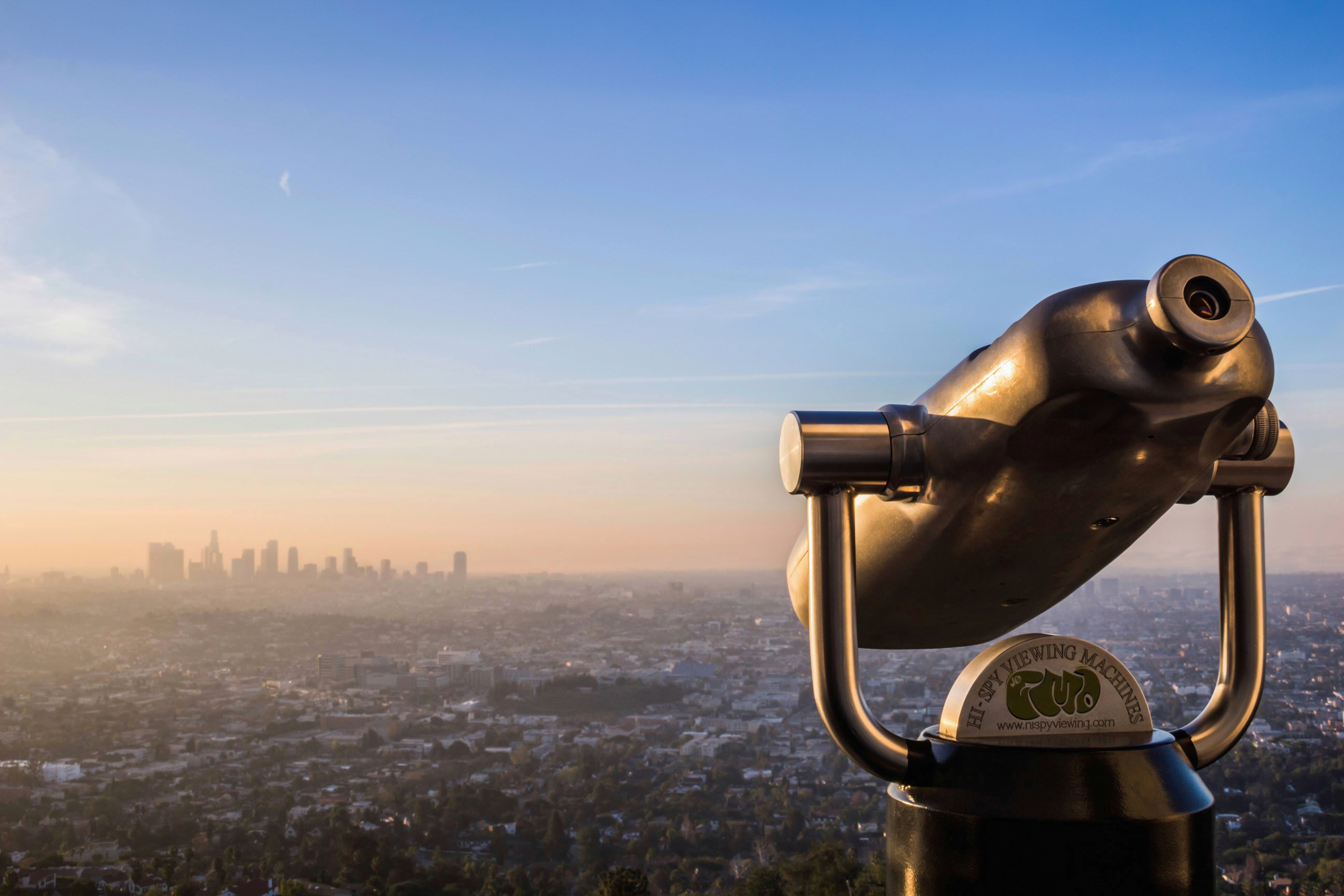 Viewfinder looking out over a cityscape