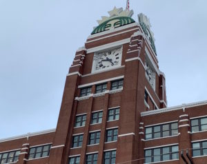 Starbucks clock tower headquarters in Seattle