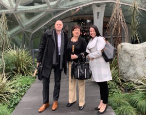 Alan Mait, Stefanie-Cross Wilson and Jaemi Taylor in front of the Amazon Spheres in Seattle